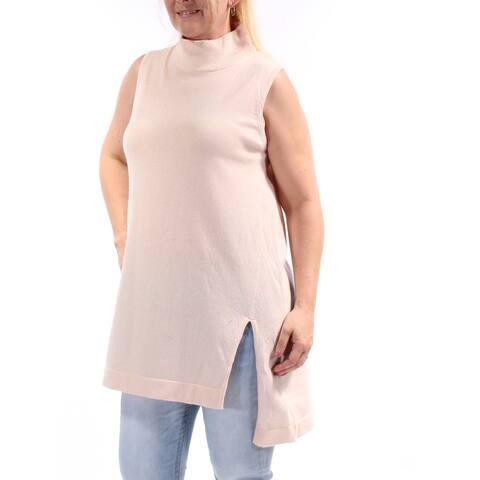 ALFANI Womens Pink Sleeveless Turtle Neck Sweater Size L