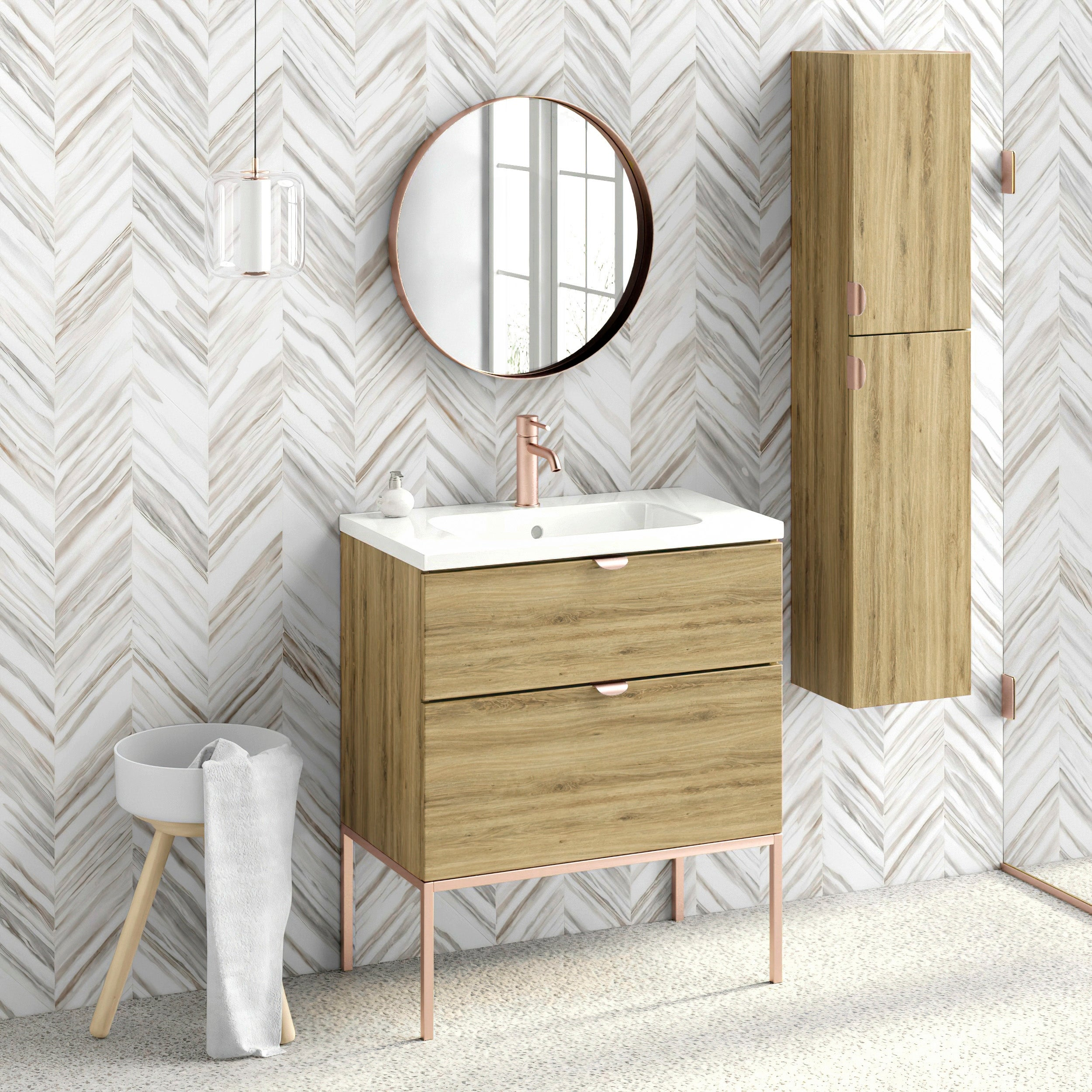 32 Bathroom Vanity Cabinet Ceramic Sink Aspen W32 X H35 X D18 In Wf440 Ginger Oak On Sale Overstock 31507213