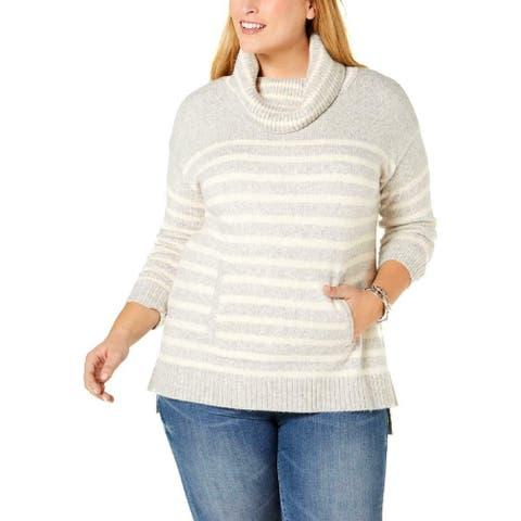 Charter Club Women's Sweater Gray Size 1X Plus Cowlneck Striped Tunic
