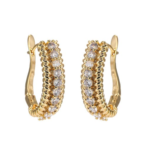 Gold-Tone Ribbed Huggie Earrings