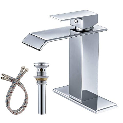 Single-Hole Low-Arc Bathroom Faucet with Drain