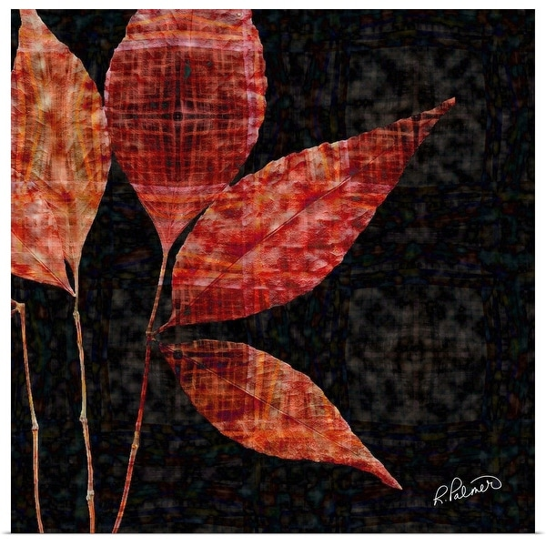 """Red Leaf Pattern"" Poster Print"