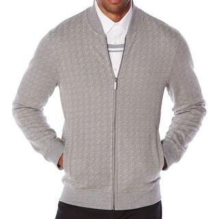 Perry Ellis NEW Gray Mens Size XL Full Zip Jacquard Track Jacket