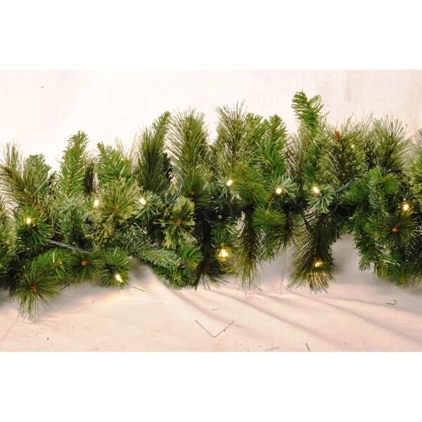Christmas at Winterland WL-GARBM-09-LWW 9 Foot Pre-Lit Warm White LED Blended Pine Garland Indoor / Outdoor