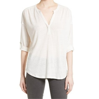 Joie White Women's Size Small S V-Neck High Low Roll Tab Blouse