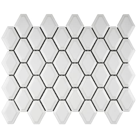 "TileGen. Diamond 3"" x 3"" Porcelain Mosaic Tile in White Floor and Wall Tile (11 sheets/9.35sqft.)"