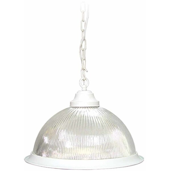 Volume Lighting V1840 Roth 1-Light Down Light Pendant with Clear Ribbed Glass Dome Shade - texture white