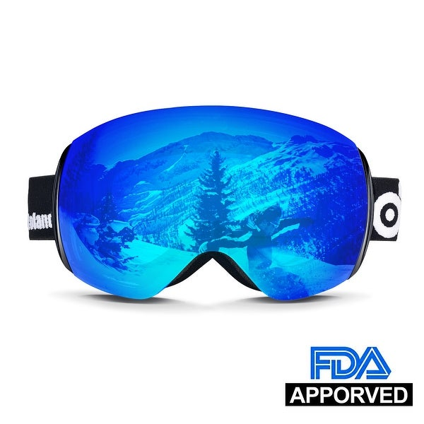 e3d681d20e69 Odoland Larger Spherical Frameless Ski goggles for Men Women S2 OTG Double  Lens UV400 Protection Anti