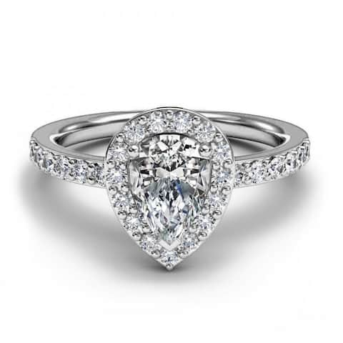 14K White Gold 0.83 CT Pear And Round Halo Diamond Engagement Ring