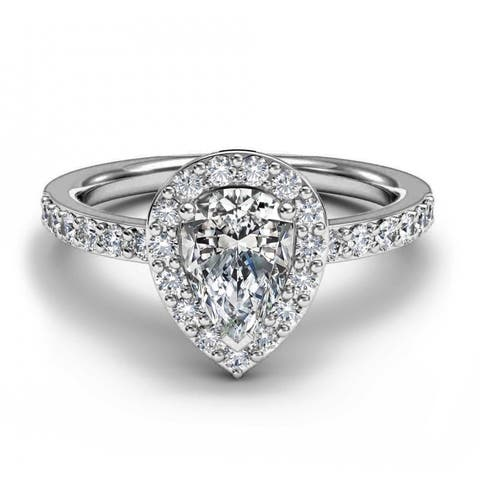 14K White Gold 1.25 CT Pear And Round Halo Diamond Engagement Ring