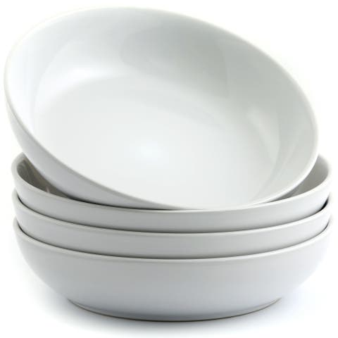 "American Atelier Pasta Bowls White Ceramic 8.5"" Set of 4"