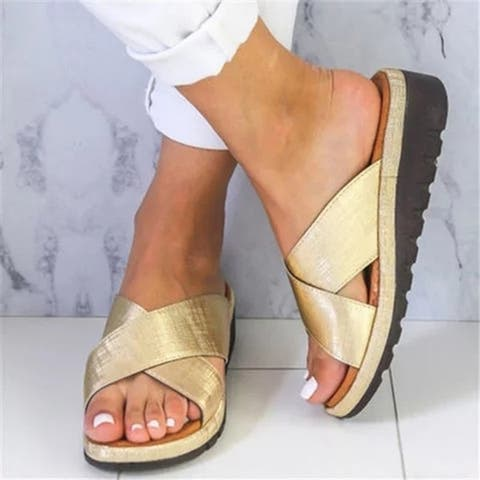 Large Size Cross-Over Women's Sandals And Slippers
