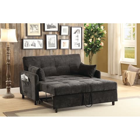 "Transitional Charcoal Fabric Sofa Bed - 60"" x 36.25"" x 35.50"""