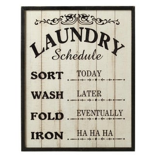 """Set of 2 Off-White and Black Framed """"Laundry Schedule"""" Rectangular Wall Decors 24"""
