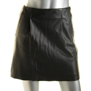 French Connection Womens Rocker Lambskin Leather Pleated Mini Skirt