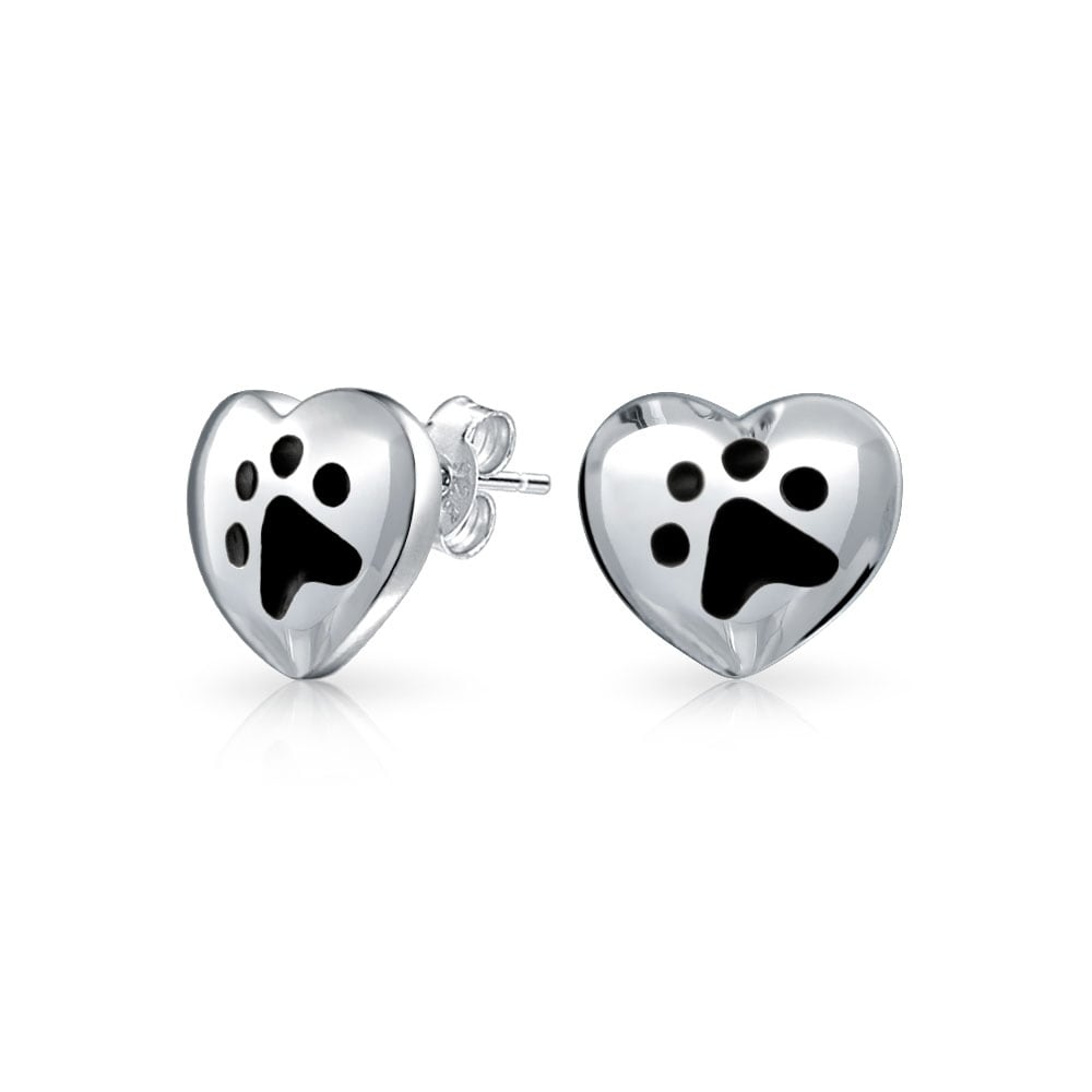 Sterling Silver Dog /& Paw Print Stud Earrings With message A Perfect Gift