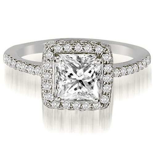1.50 cttw. 14K White Gold Princess And Round Cut Diamond Halo Engagement Ring