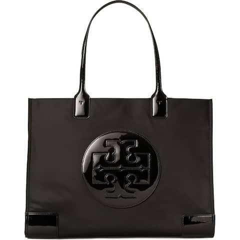Tory Burch Women's Mini Ella Black Patent Leather-trimmed Nylon Tote