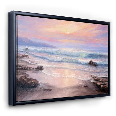 Designart 'Pastel Purple Sunset Over Incoming Ocean I' Nautical & Coastal Framed Canvas Wall Art Print
