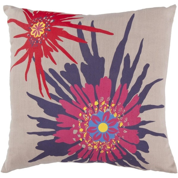 "22"" Summer Bloom Cream and Fuchsia Decorative Throw Pillow"