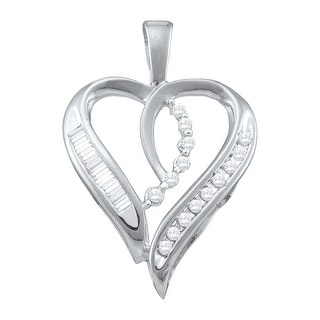 Heart Pendant 10K White-gold With Baguette and Round Diamonds 0.05 Ctw By MidwestJewellery - White