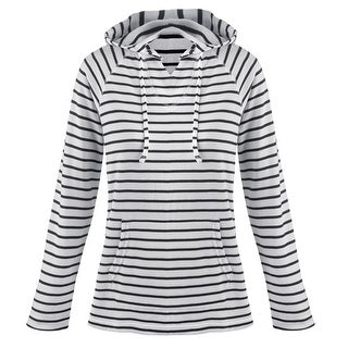 Women's Hoodie - Mariner Navy and White Striped Knit Hooded Sweatshirt