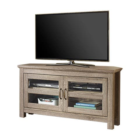 Offex 44 Wood Corner Tv Media Stand Storage Console Driftwood