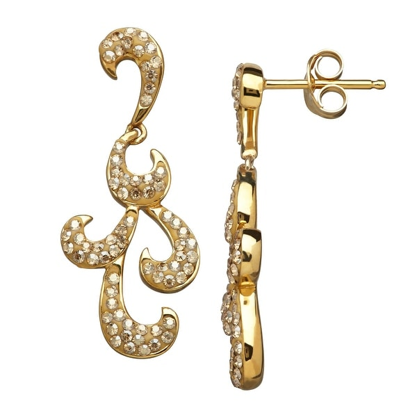 Crystaluxe Filigree Drop Earrings with Swarovski elements Crystals in 18K Gold-Plated Sterling Silver
