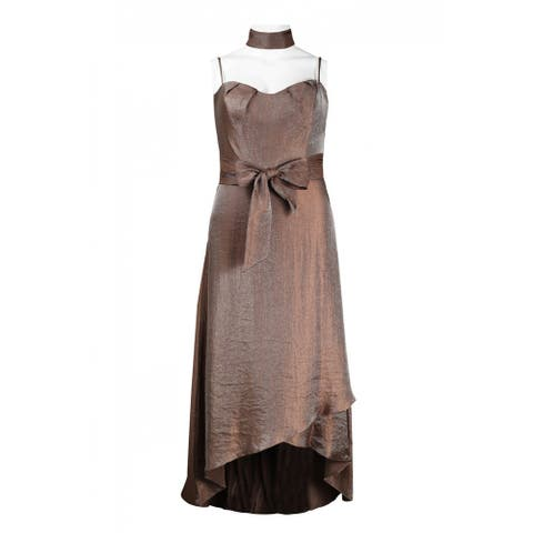 JS Collections Sweetheart Neckline Bow Tie Waist High-Low Dress, Brown, 16