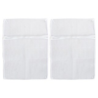 Zipper Lingerie Delicate Clothes Mesh Laundry Washing Bag Travel Trip Packing Bag Home Household White 2 Pcs