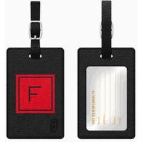 Otm Monogram Black Leather Bag Tag, Inversed, Fire - F Otm Monogram Black Leather Bag Tag, Inversed, Fire - F