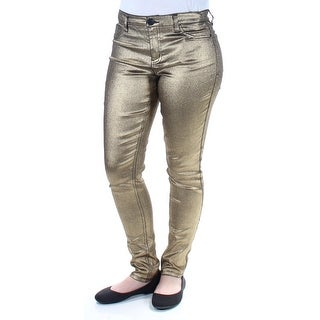 TINSELTOWN $49 Womens New 1329 Gold Metallic Skinny Casual Pants 7 Juniors B+B