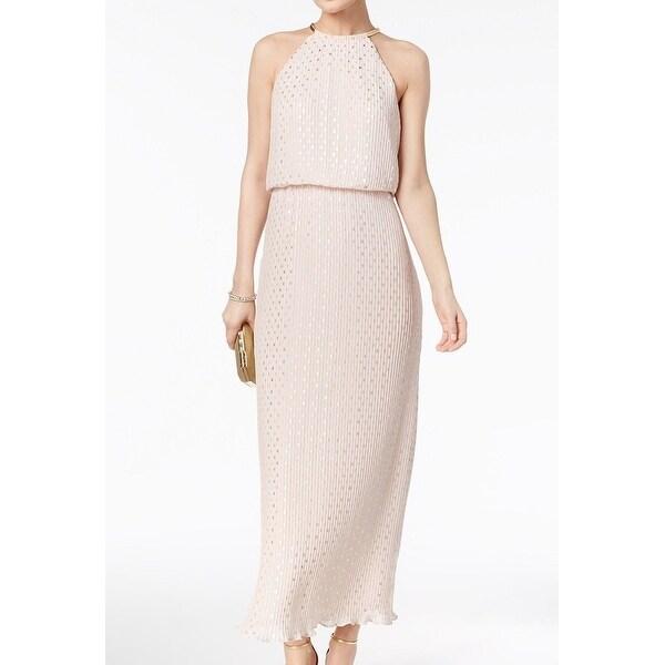 c1c1defb8483d MSK Pink Womens Size 10 Pleated Chiffon Polka Dot Maxi Dress