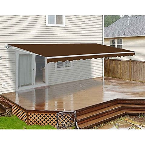 ALEKO Retractable 20 x 10 Feet Motorized Deck Patio Awning Brown Color
