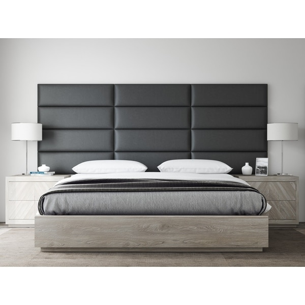 VANT Upholstered Headboards - Accent Wall Panels - Vintage Leather Black Coal - 39 Inch Twin-King - Set of 4 panels.