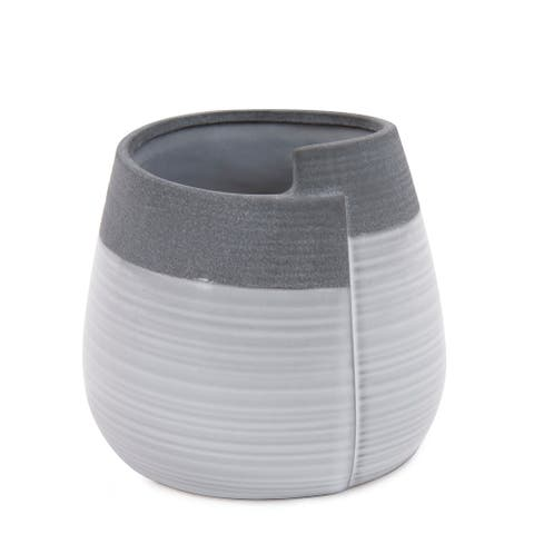 Rolled Two Tone Gray Vase, Small - 6H x 6W x 6D