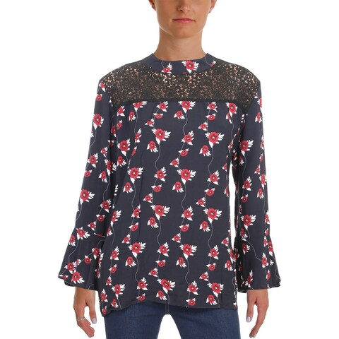 4Our Dreamers Womens Casual Top Lace Inset Bell Sleeves - l