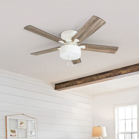 The Gray Barn Rousham 52-inch Coastal Indoor LED Ceiling Fan with Pull Chains 5 Reversible Blades - 52