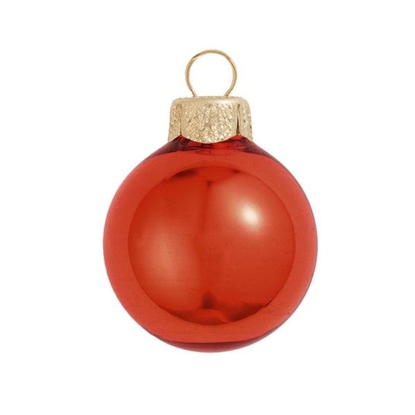 "28ct Shiny Fire Orange Glass Ball Christmas Ornaments 2"" (50mm)"