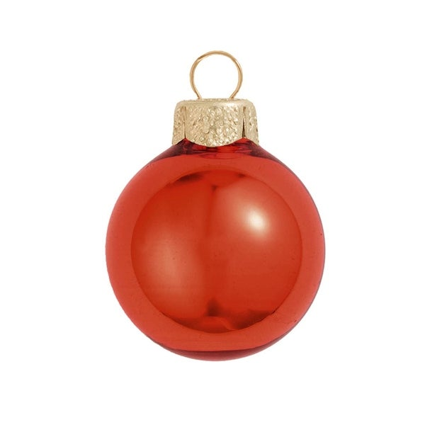 "40ct Shiny Fire Orange Glass Ball Christmas Ornaments 1.25"" (30mm)"
