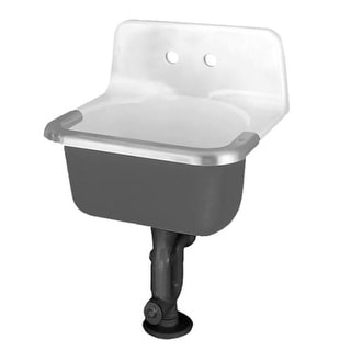"American Standard 7695 Akron Wall Mounted Cast Iron Utility Sink with Single Faucet Hole and 24"" Length"