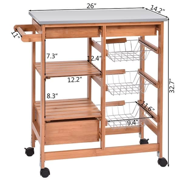 Shop Costway Bamboo Rolling Kitchen Island Trolley Cart Storage
