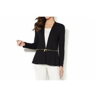 Iman NEW Deep Black Womens Size XS Perfect Ponte Convertible Blazer