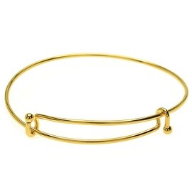 Expandable Charm Bangle Bracelet, Double Bar, 1 Bracelet, Bright Gold