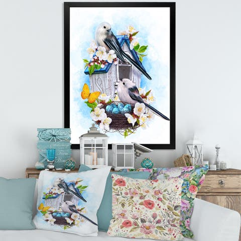 Designart 'Two Tit Birds Sitting Near The Nest With Eggs II' Traditional Framed Art Print