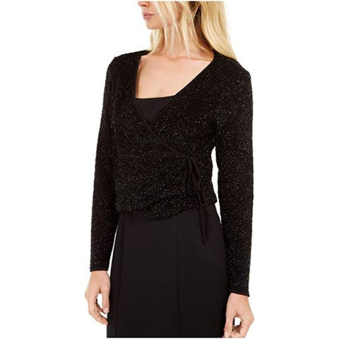 Calvin Klein Women's Long Sleeve V Neck Wrap Party Sweater, Black Glitter, Small