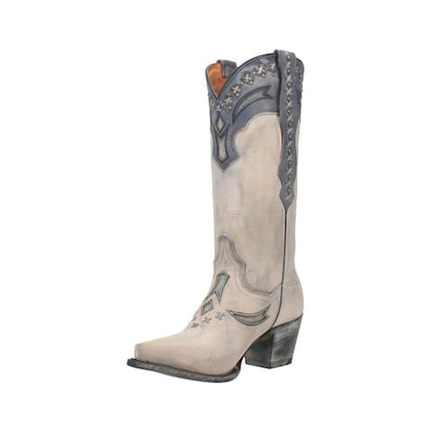 Dan Post Western Boots Womens Shiver Leather Underlays White