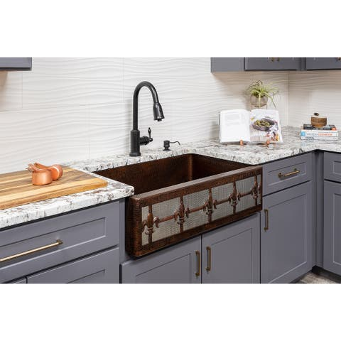 Premier Copper Products KSP2_KASDB33229F-NB Kitchen Sink, Pull Down Faucet and Accessories Package