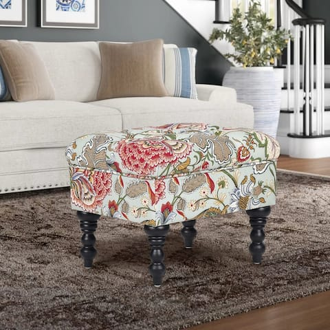 Adeco Ottoman Stool Tufted Foot Rest Fabric Floral Vanity Stool