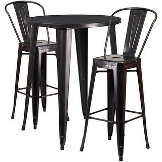 Brimmes 3pcs Round 30'' Black-Antique Gold Metal Table w/2 Cafe Barstool